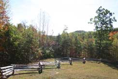 View of Hoosier Knob trailhead from pavilion